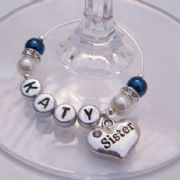 Sister Personalised Wine Glass Charm - Elegance Style